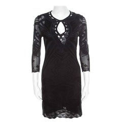 Roberto Cavalli Black Perforated Knit Long Sleeve Bodycon Dress S