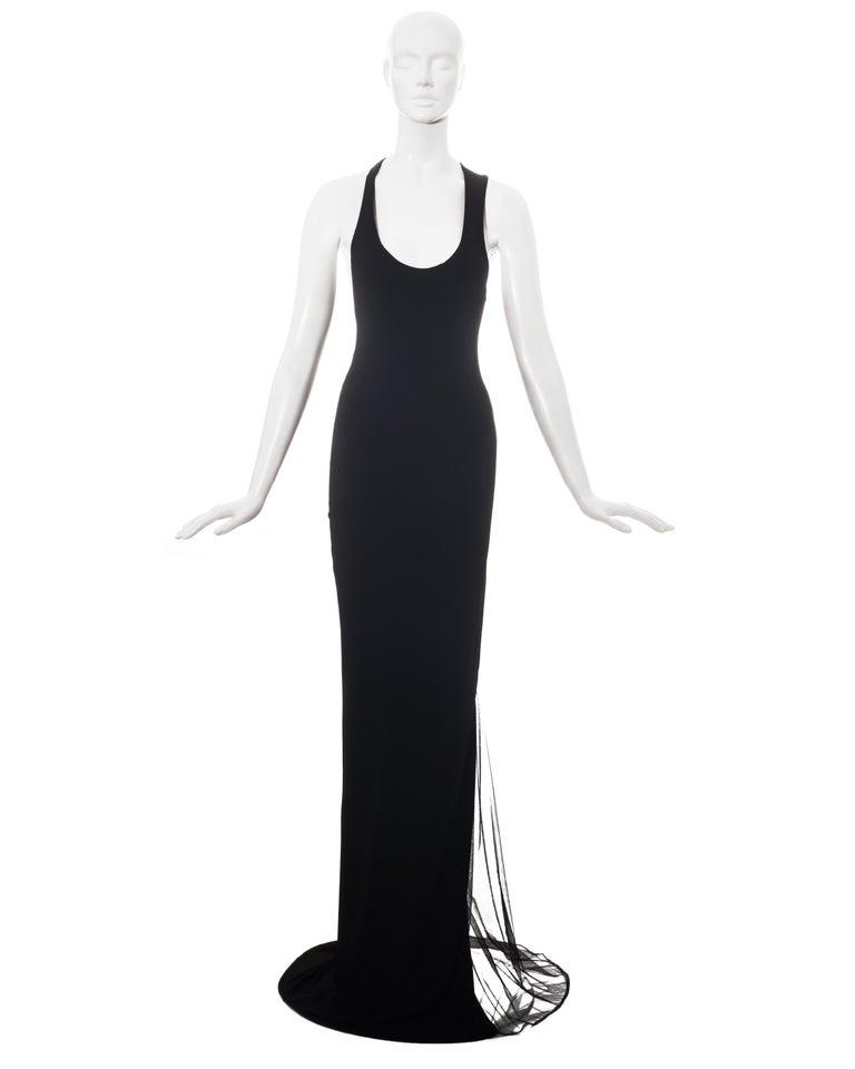 Roberto Cavalli black rayon maxi dress with mesh inserts.   C. 2000