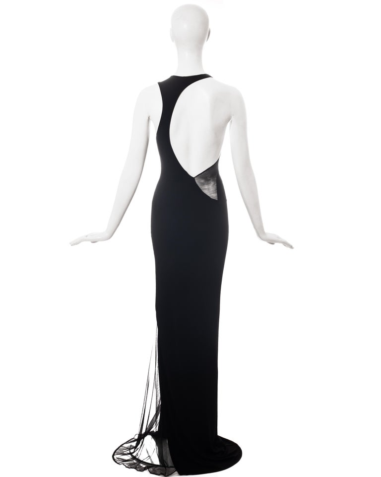 Black Roberto Cavalli black rayon maxi dress with mesh inserts, c. 2000 For Sale