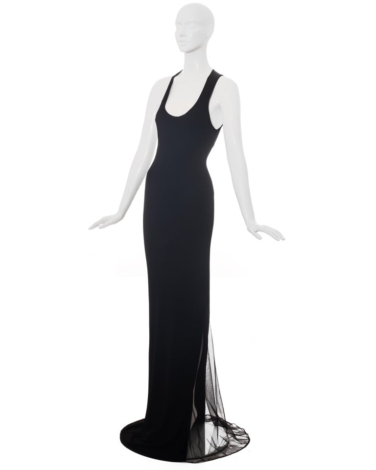 Roberto Cavalli black rayon maxi dress with mesh inserts, c. 2000 In Excellent Condition For Sale In London, GB