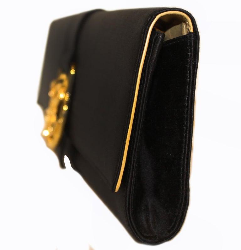 Women's Roberto Cavalli Black Satin Clutch Bag  For Sale