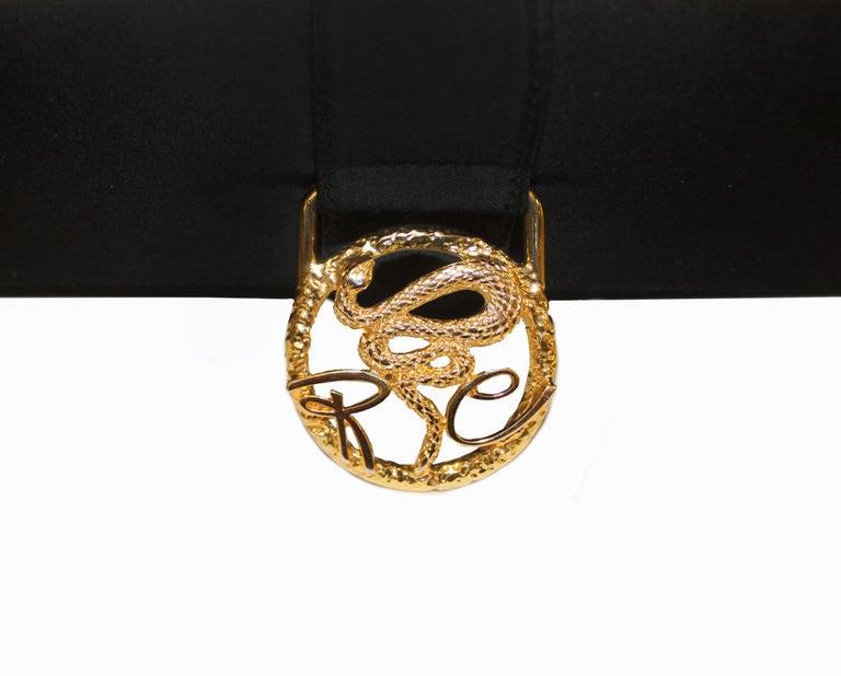 Roberto Cavalli Black Satin Clutch Bag  For Sale 2