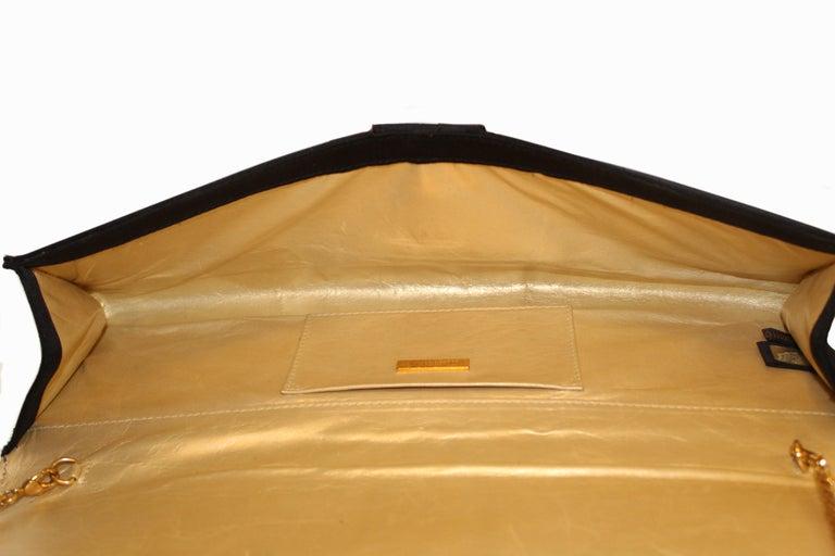 Roberto Cavalli Black Satin Clutch Bag  For Sale 5