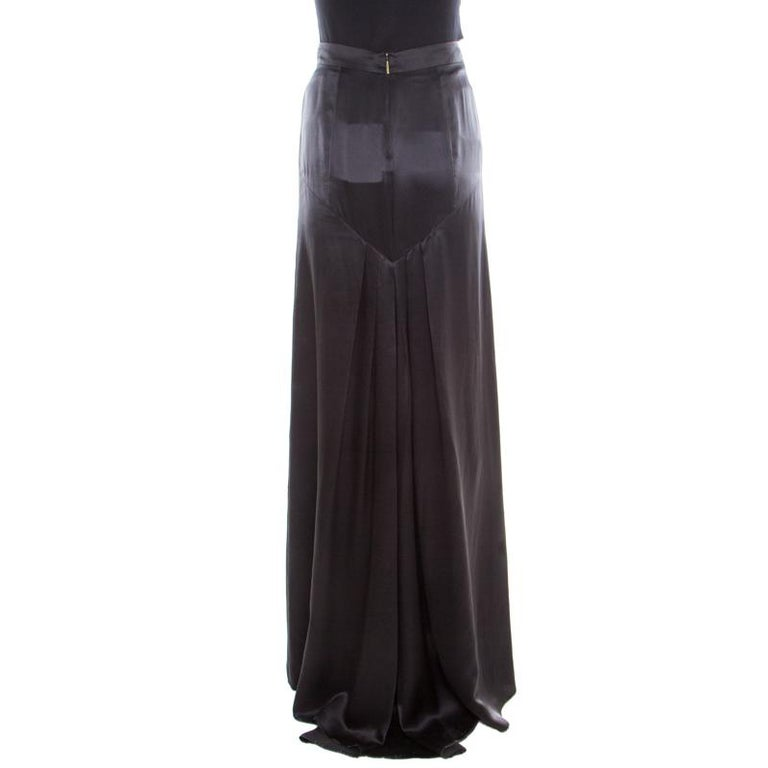 Roberto Cavalli Black Satin Maxi Skirt S In Good Condition For Sale In Dubai, Al Qouz 2