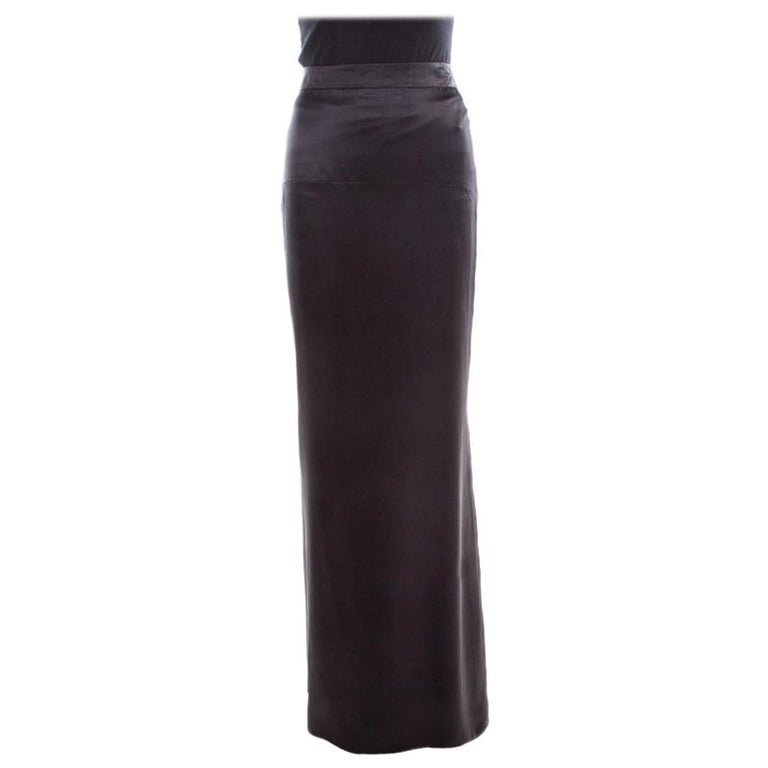 Roberto Cavalli Black Satin Maxi Skirt S For Sale