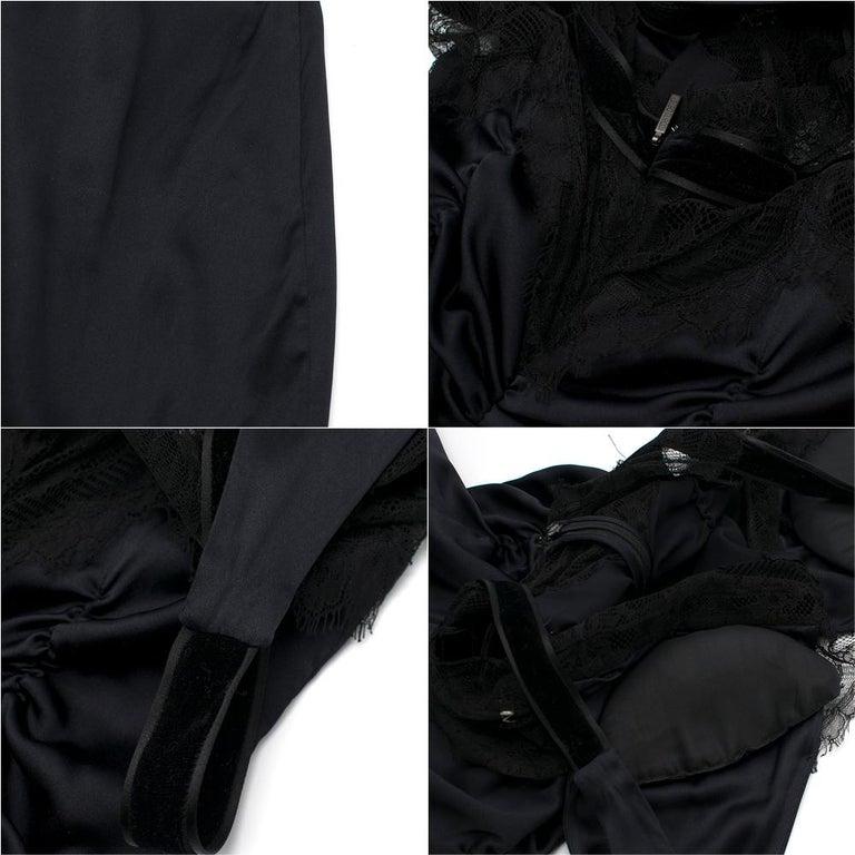 Roberto Cavalli Black Silk Blend Lace Trim Gown SIZE UK 10 For Sale 6