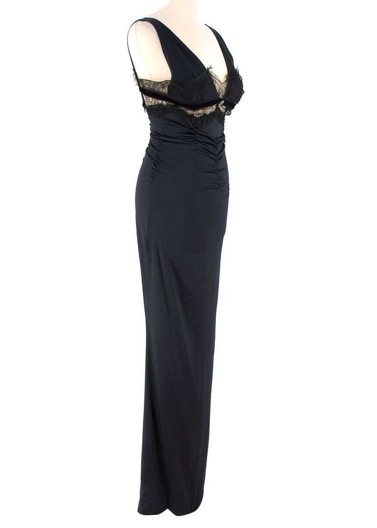 Roberto Cavalli Black Silk Blend Lace Trim Gown  - Ruched at Waist - Floor Length; Flowing at the Bottom - Expandable Material - Heavier Padding on the Breast for Support  Please note, these items are pre-owned and may show signs of being stored