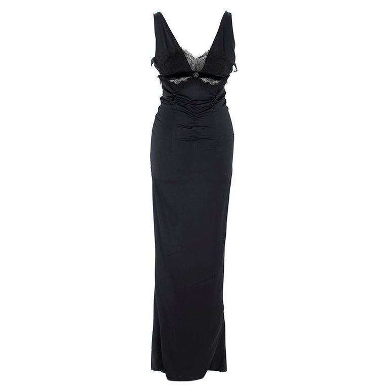 Roberto Cavalli Black Silk Blend Lace Trim Gown SIZE UK 10 In Good Condition For Sale In London, GB