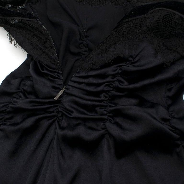 Women's Roberto Cavalli Black Silk Blend Lace Trim Gown SIZE UK 10 For Sale
