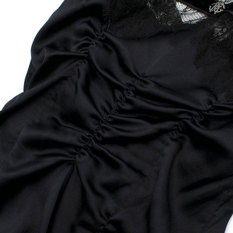 Roberto Cavalli Black Silk Blend Lace Trim Gown SIZE UK 10 For Sale 3