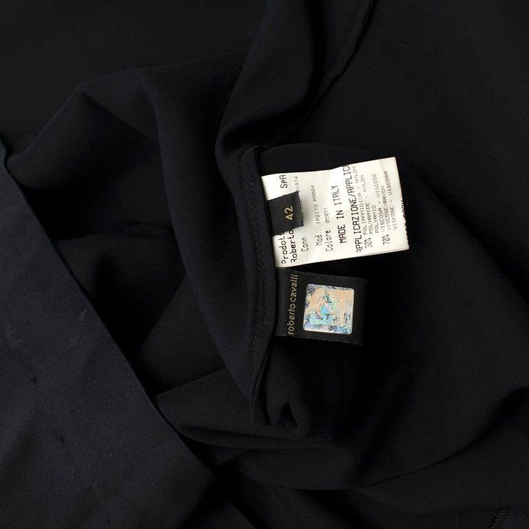 Roberto Cavalli Black Silk Blend Lace Trim Gown SIZE UK 10 For Sale 5