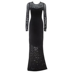 Roberto Cavalli Black Stretch Knit Sheer Detail Long Sleeve Maxi Dress S
