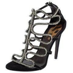 Roberto Cavalli Black Suede Crystal Embellished Sandals Size 40
