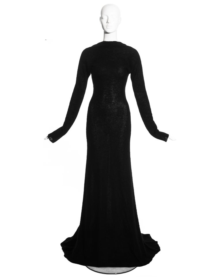 Roberto Cavalli black wool low back trained evening dress with draped neckline.  c. 2000s