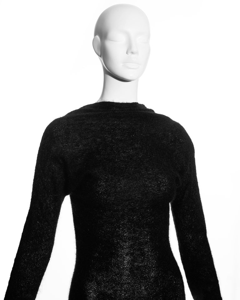 Black Roberto Cavalli black wool low back trained evening dress, c. 2000s For Sale