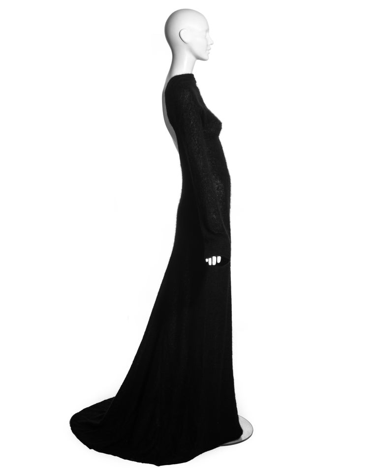 Roberto Cavalli black wool low back trained evening dress, c. 2000s In Excellent Condition For Sale In London, GB