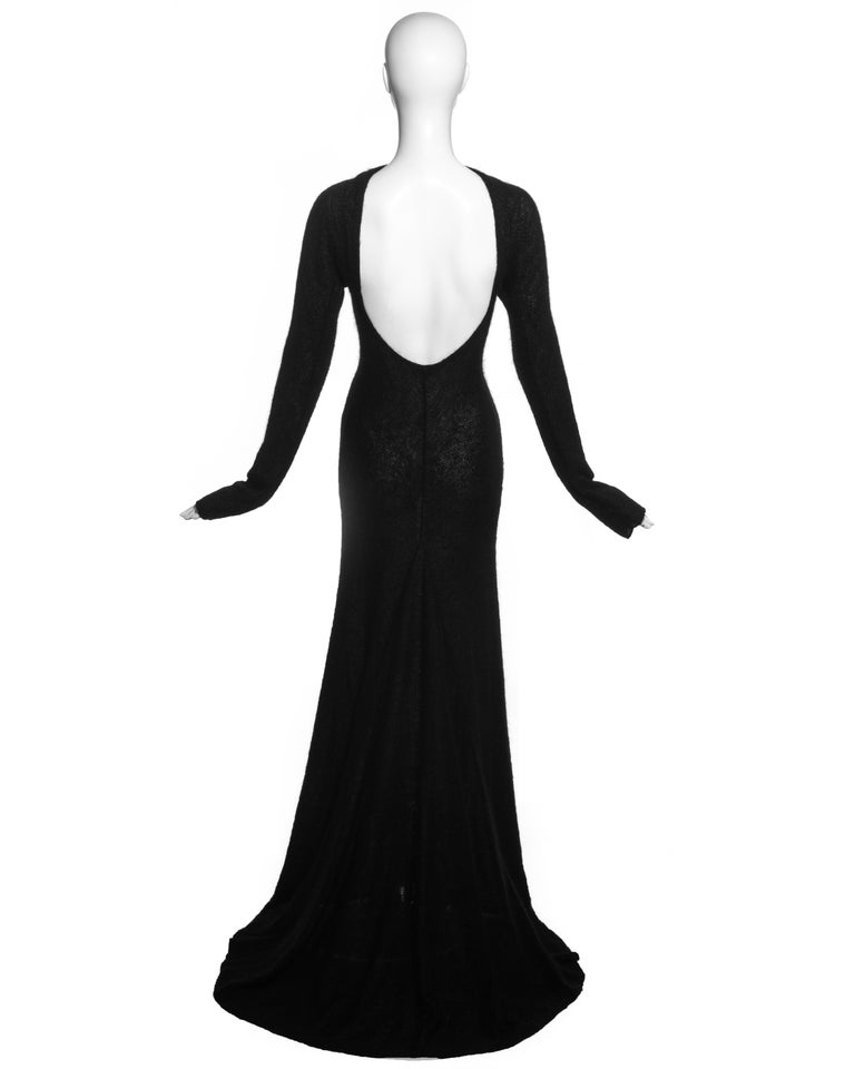 Women's Roberto Cavalli black wool low back trained evening dress, c. 2000s For Sale