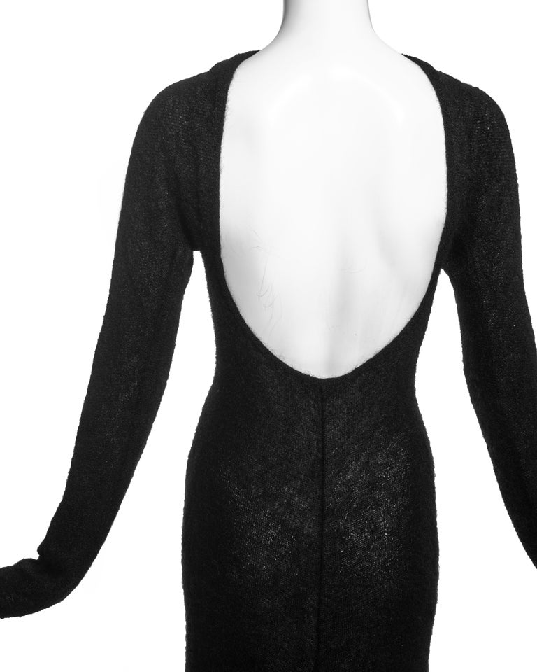 Roberto Cavalli black wool low back trained evening dress, c. 2000s For Sale 1