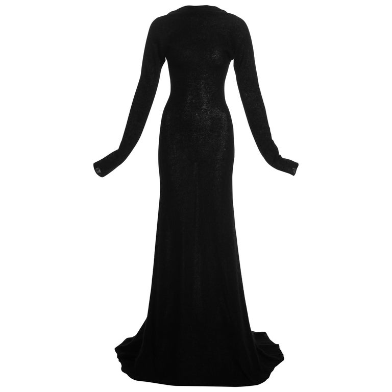 Roberto Cavalli black wool low back trained evening dress, c. 2000s For Sale