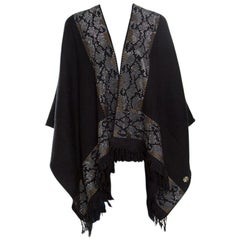 Roberto Cavalli Black Wool Studded Fringed Edge Open Poncho ( One Size )
