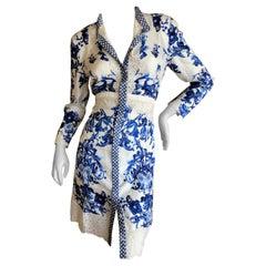 Roberto Cavalli Blue and White Delft China Trade Pattern Silk Eyelet Trim Dress