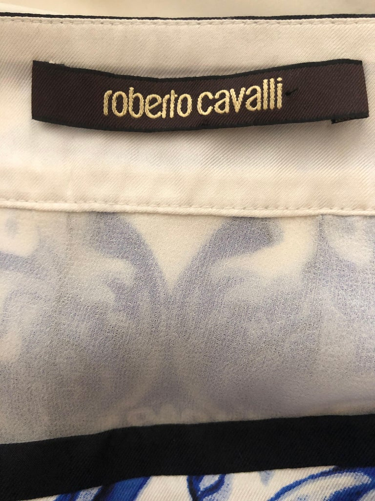1142a57fe5 Roberto Cavalli Blue and White Delft China Trade Pattern Silk Pleated Skirt  42 This is so