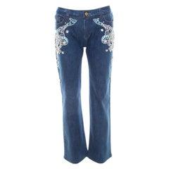 Roberto Cavalli Blue Crystal Embellished Denim Wide Leg Jeans L