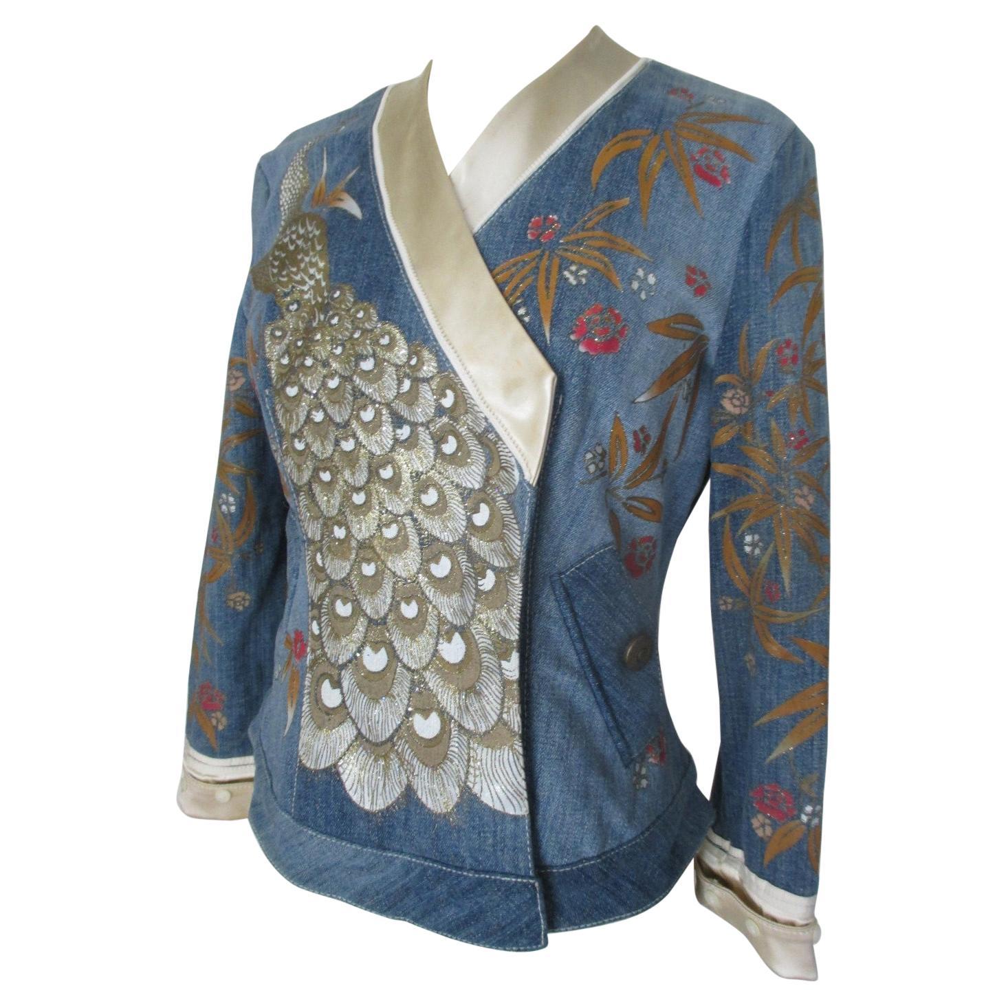 Roberto Cavalli  Blue Denim Embroidered Jacket
