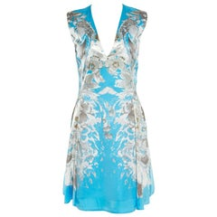 Roberto Cavalli Blue Floral Printed Satin Sleeveless Flared Dress S