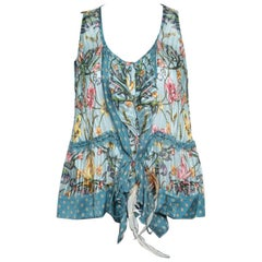 Roberto Cavalli Blue Floral Printed Silk Ruffled Feather Tie Detail Blouse M
