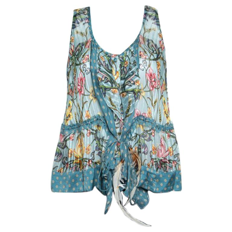 9e24bddca1a52 Roberto Cavalli Blue Floral Printed Silk Ruffled Feather Tie Detail Blouse M  For Sale