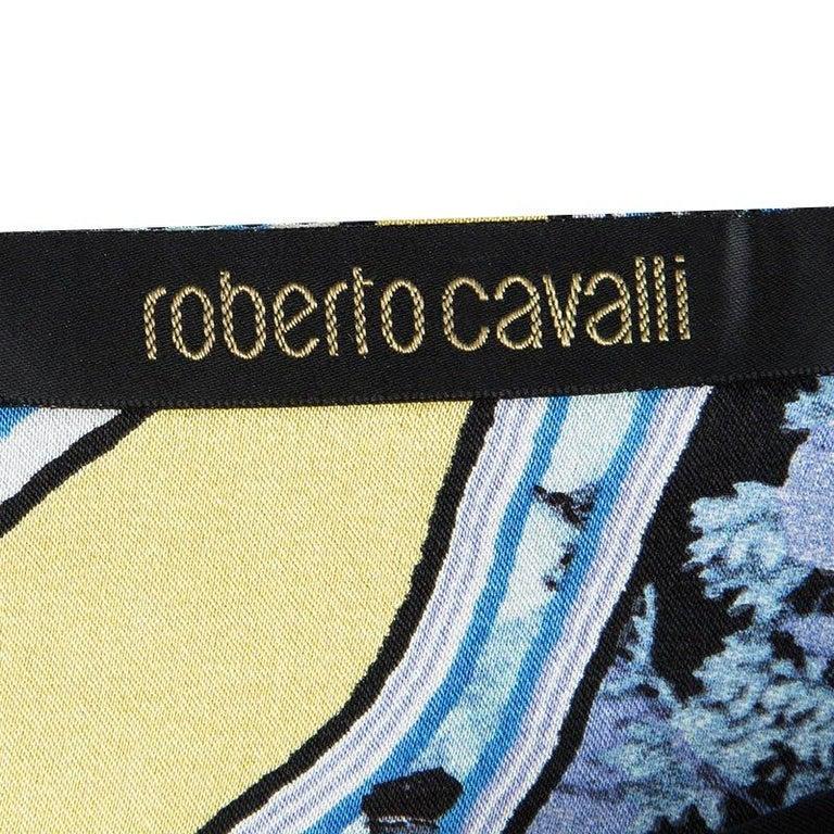 Women's Roberto Cavalli Blue Floral Printed Silk Tiered Mini Skirt S
