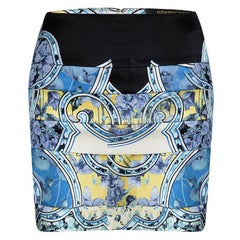 Roberto Cavalli Blue Floral Printed Silk Tiered Mini Skirt S