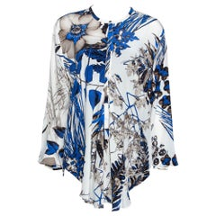 Roberto Cavalli Blue Leaf Print Silk Button Front Blouse L