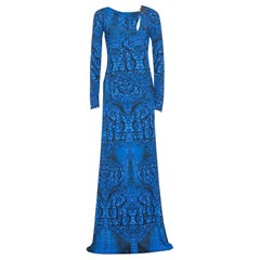 Roberto Cavalli Blue Printed Jersey Brooch Detail Maxi Dress M