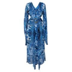 Roberto Cavalli Blue Printed Silk Belted Maxi Dress L