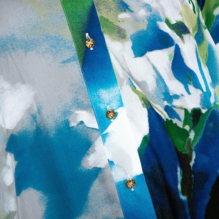 Women's Roberto Cavalli Blue Printed Silk Gathered Sleeve Sheer Blouse M For Sale