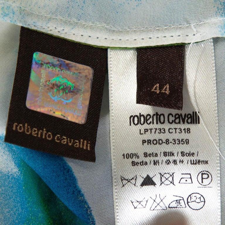 Roberto Cavalli Blue Printed Silk Gathered Sleeve Sheer Blouse M For Sale 1
