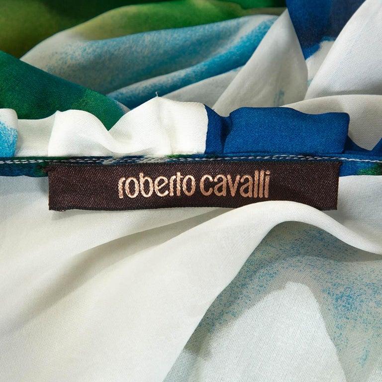 Roberto Cavalli Blue Printed Silk Gathered Sleeve Sheer Blouse M For Sale 2