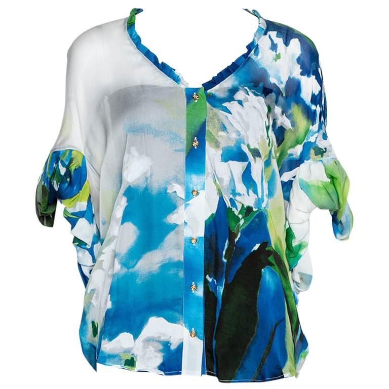 Roberto Cavalli Blue Printed Silk Gathered Sleeve Sheer Blouse M For Sale