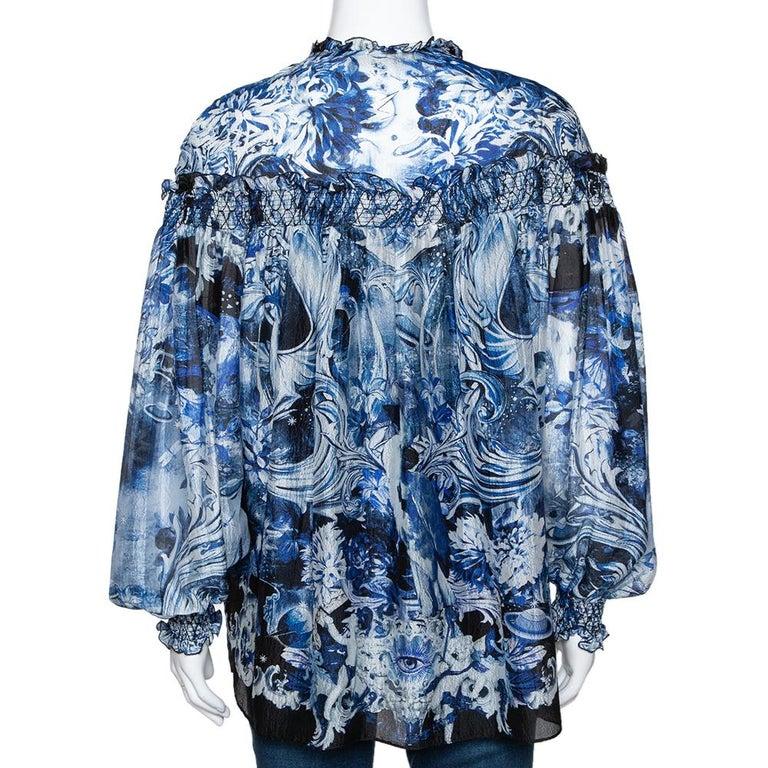 Roberto Cavalli Blue Printed Silk Ruffled Blouse S In Good Condition For Sale In Dubai, Al Qouz 2