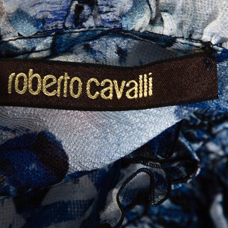 Women's Roberto Cavalli Blue Printed Silk Ruffled Blouse S For Sale
