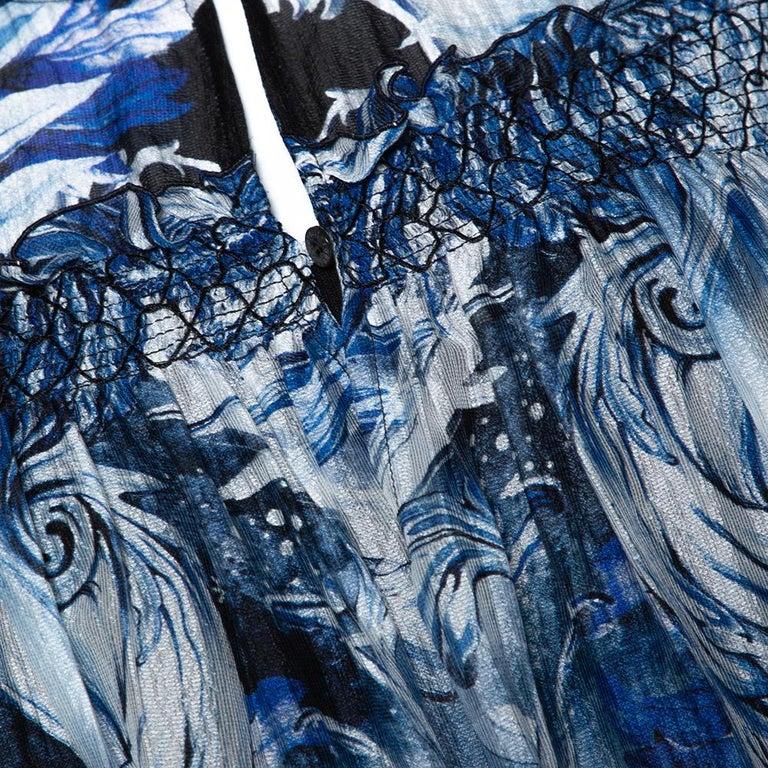 Roberto Cavalli Blue Printed Silk Ruffled Blouse S For Sale 2