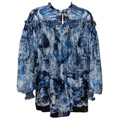 Roberto Cavalli Blue Printed Silk Ruffled Blouse S