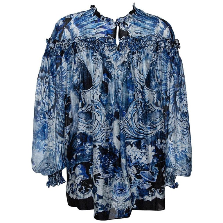 Roberto Cavalli Blue Printed Silk Ruffled Blouse S For Sale