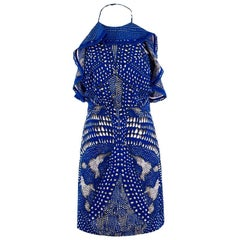 Roberto Cavalli Blue Spotted Minidress - Size US 4