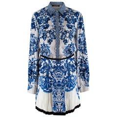 Roberto Cavalli Blue & White Floral Silk Shirt & Skirt - Size XXS/XS