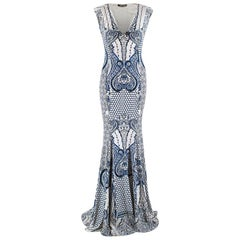 Roberto Cavalli Blue & White Patterned Gown 40