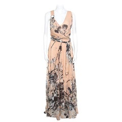 Roberto Cavalli Blush Pink Floral Printed Silk Cross Back Belted Maxi Dress M