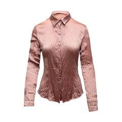 Roberto Cavalli Blush Pink Silk Long Sleeve Button-Up
